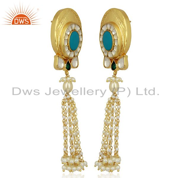 Exporter Kundan Polki With Pearl Drop 925 Sterling Silver Traditional Jewelry
