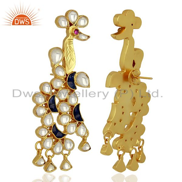 Exporter Indian Bollywood New Kundan Polki 925 Sterling Silver Gold Plated Stud Earring