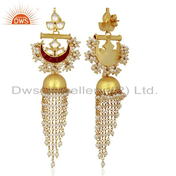 Exporter Kundan Polki With Pearl Jhumkas  Sterling Silver Gold Plated Traditional Jewelry