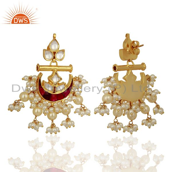 Exporter Indian Traditional Kundan Polki Sterling Silver Gold Plated Chand Bali Earrings