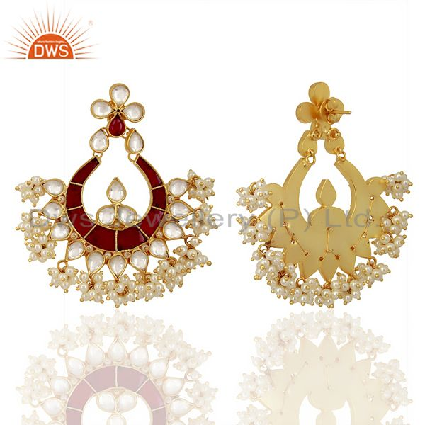 Exporter Kundand Polki With Pearl Drop Sterling Silver Gold Plated Indian Wedding Jewelry