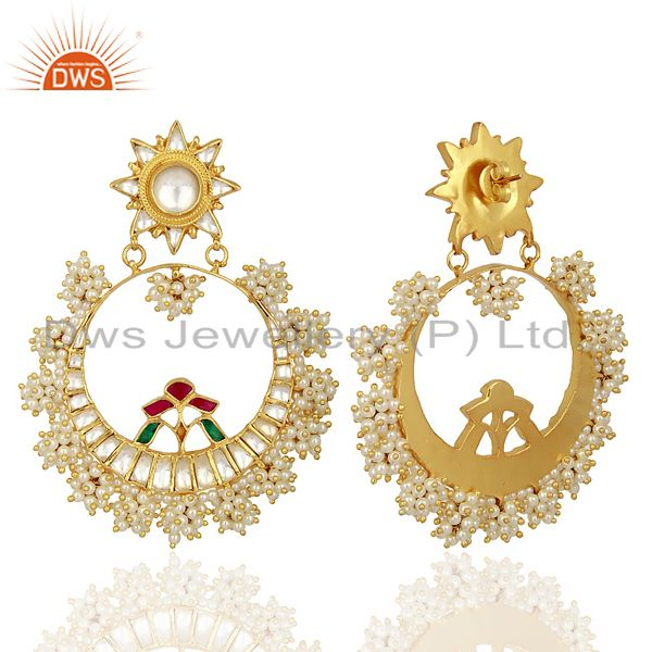 Exporter Designer Kundan Polki 925 Sterling Silver Gold Plated Chand Bali Earring Jewelry