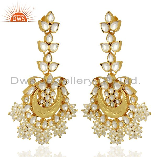Exporter Indian Traditional Kundan Polki Sterling Silver Gold Plated Chandelier Earring