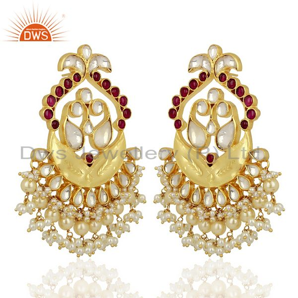 Exporter Kundan Polki With Pearl Drop 925 Sterling Silver Indian Traditional Jewelry
