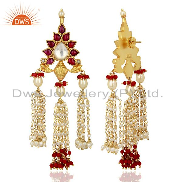 Exporter Coral With Pearl Gemstone 925 Sterling Silver Gold Plated Chandelier Earrings