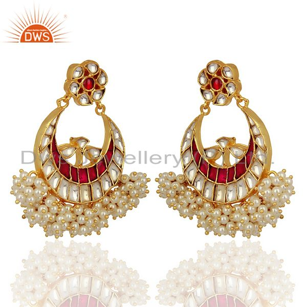 Exporter Kundan Polki 925 Sterling Silver Gold Plated ChandBali Earring Wholesale Jewelry