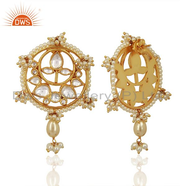 Exporter Kundan Polki With Pearl Drop 925 Sterling Silver Gold Plated Wholesale Jewelry