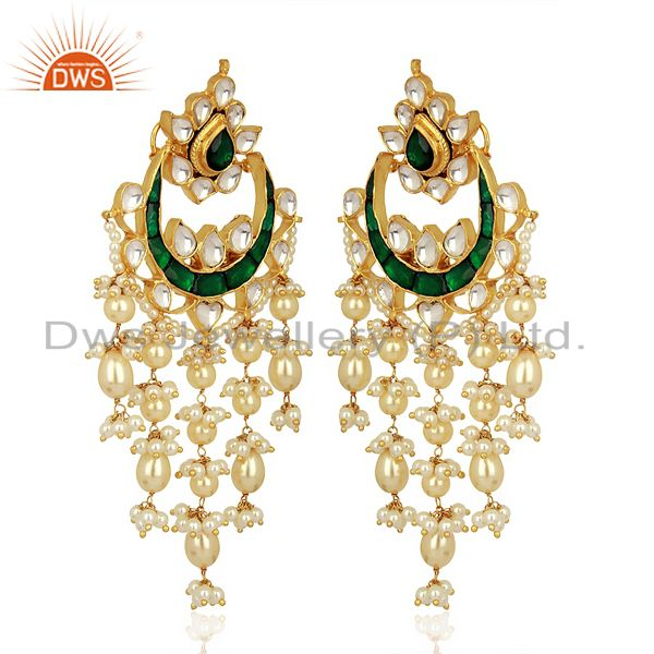 Exporter Indian Wedding Collection 925 Sterling Silver Gold Plated Chand Bali Earrings