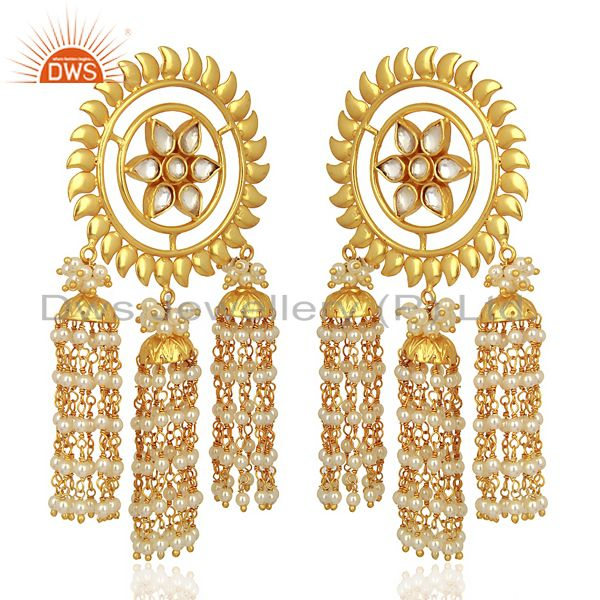 Exporter Kundan Polki With Multiple Jhumkas Sterling Silver Gold Plated Earring Jewelry
