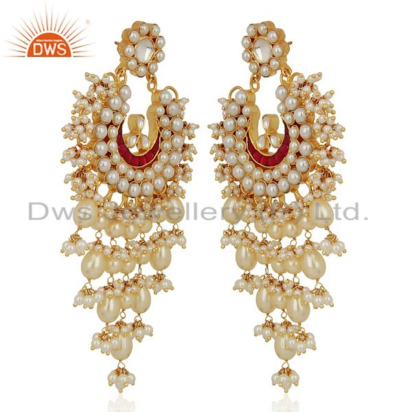 Exporter Kundan Polki With Pearl 925 Sterling Silver Gold Plated Chand Bali Earrings