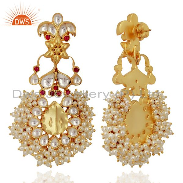 Exporter Kundan Polki 92.5 Sterling Silver Gold Plated Chandelier Earring Jewelry