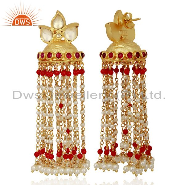 Exporter Kundan Polki Sterling Silver Gold Plated Earrings Wedding Collection Jewelry