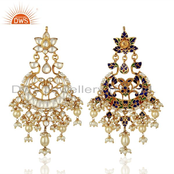Exporter Designer Kundan Polki Sterling Silver Gold Plated Indian Bollywood Collection