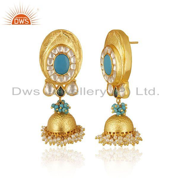 Exporter Indian Traditional Gold Plated Solid 925 Silver Kundan Jhumka Earrings Wholesale