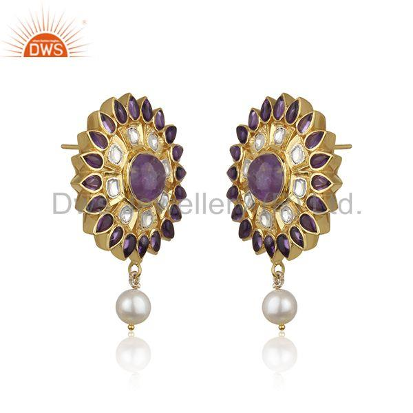 Exporter Natural Amethyst and Pearl Gemstone Floral Design 925 Silver Earring Supplier