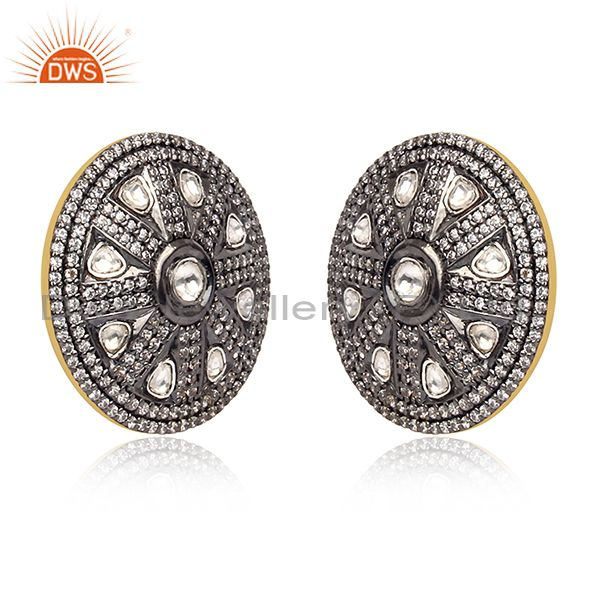 Exporter Crystal and White Zircon Victorian Style Silver Round Stud Earring Manufacturer