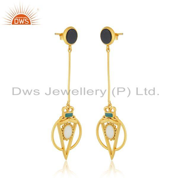 Exporter Wholesale Gold Plated Silver Enamel Chain Earring Jewelry