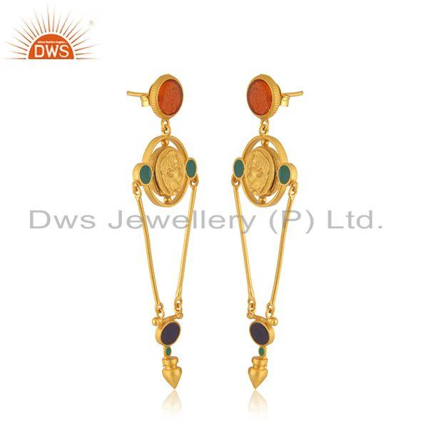 Exporter Designer Hand Craved Silver Gold Plated Enamel Earring Jewelry