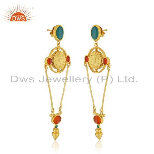 Exporter Hand Craved Gold Plated 925 Silver Designer Enamel Earring Jewelry