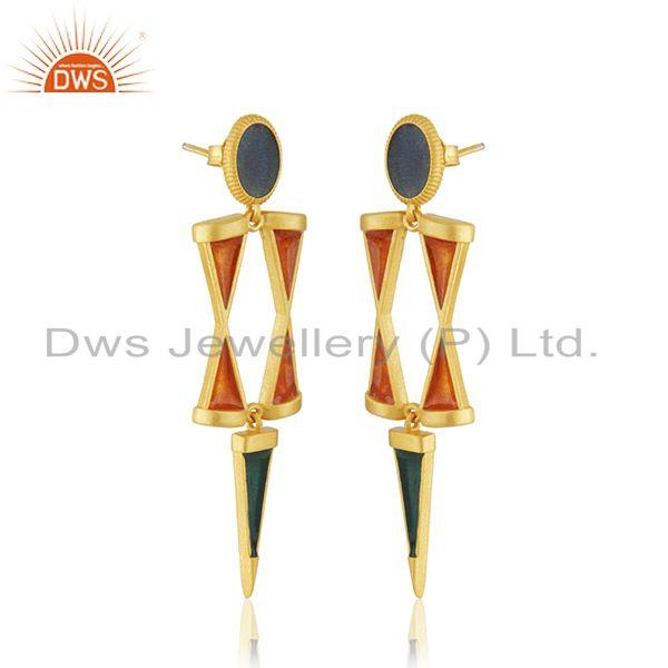 Exporter Manufacturer 925 Silver Gold Plated Enamel Earring Jewelry