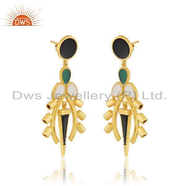 Exporter Enamel Designer Gold Plated Silver Womens Earring Jewelry