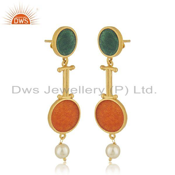 Exporter Multi Color Meena Natural Pearl Gold Plated 925 Silver Earrings Wholesaler India