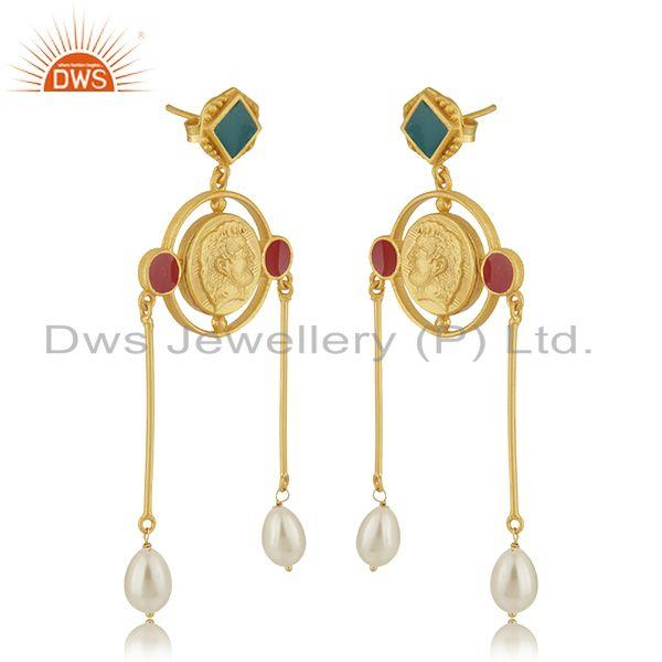 Exporter Handcrafted Antique Face Gold Plated 925 Silver Dangle Earrings Manufacturer