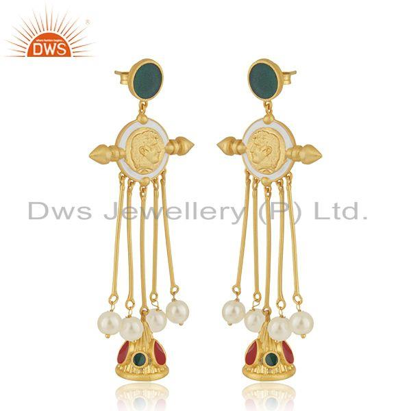 Exporter Handmade 925 Silver Gold Plated Hand Work Antique Face Earrings Manufacturer