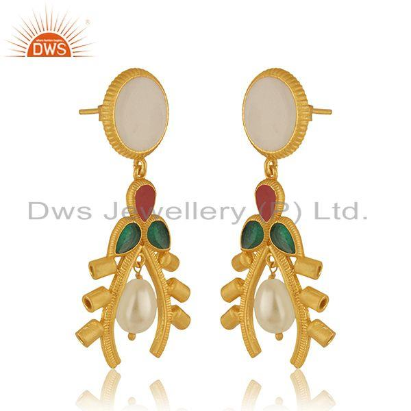 Exporter Natural Pearl 925 Sterling Silver Gold Plated Dangle Earrings Manufacturer India