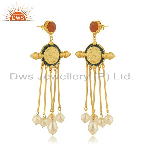 Exporter Handcrafted Face Design Gold PLated 925 Silver Pearl Earrings Wholesale