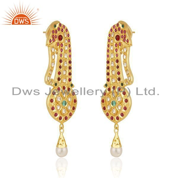 Exporter CZ and Hydro Gemstone Gold Plated Silver Kundan Earrings Jewelry Supplier