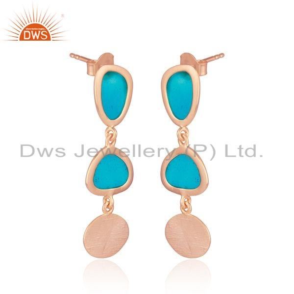 Exporter Handmade Enamel Design Texture Rose Gold Plated Silver Earring Jewelry