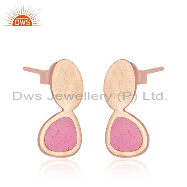 Exporter 925 Silver Rose Gold Plated Silver Pink Enamel Design Stud Earrings