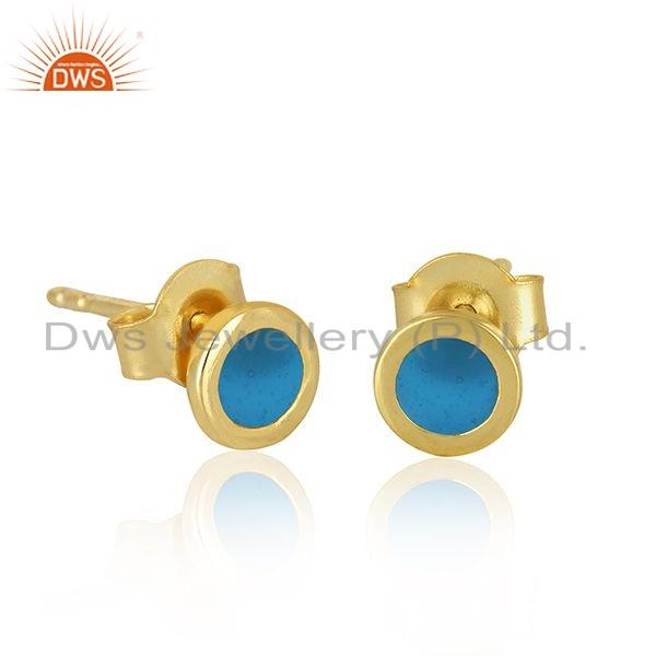 Exporter Turquoise Enamel 18k Gold Plated 925 Silver Stud Earrings Jewelry