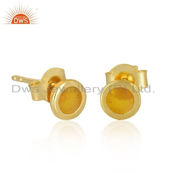 Exporter Gold Plated 925 Silver Designer Yellow Enamel Stud Earrings Jewelry