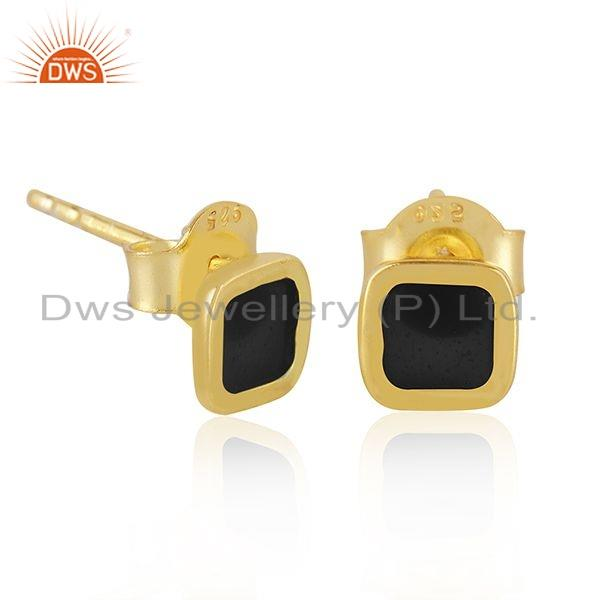 Exporter Black Enamel Designer 18k Gold Plated 925 Silver Stud Earrings Jewelry
