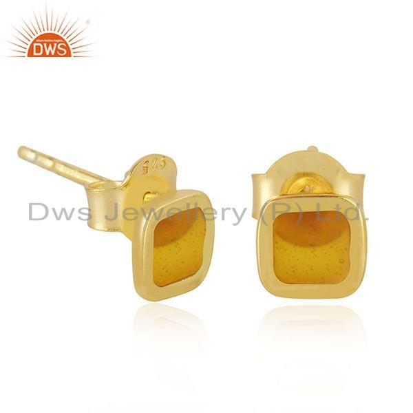 Exporter Yellow Enamel Gold Plated 925 Silver Stud Earrings Jewelry Manufacture