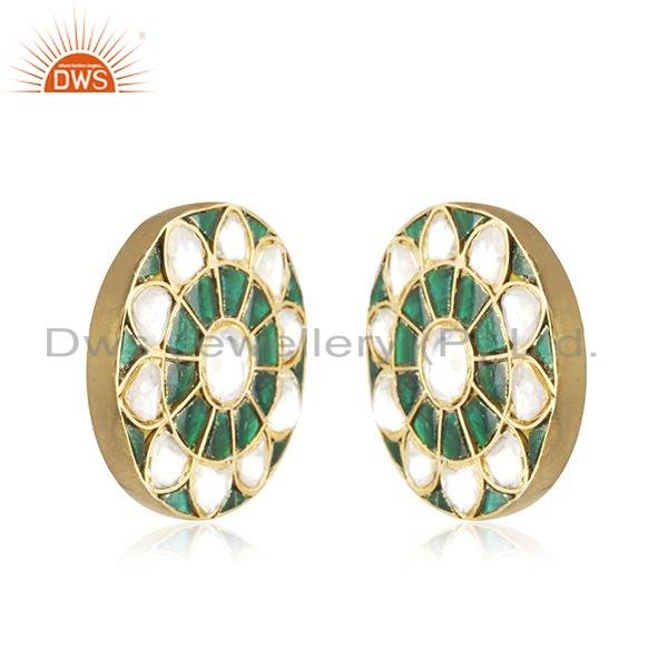 Exporter Floral Enamel Gold Plated Silver Traditional Stud Earrings Jewelry