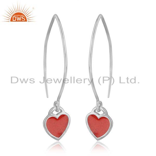 Dainty dangle earring in fine silver 925 with light red enamel