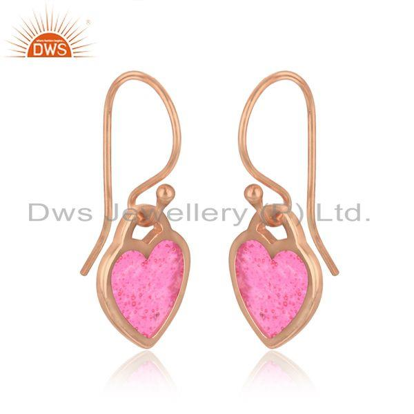Heart dangle in rose gold plated silver with light pink enamel