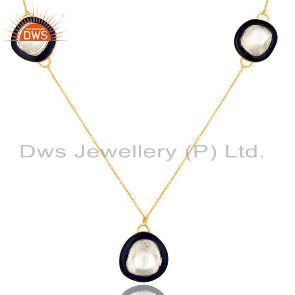 Exporter 18K Gold Plated Sterling Silver Crystal Polki And Blue Enamel Fashion Necklace