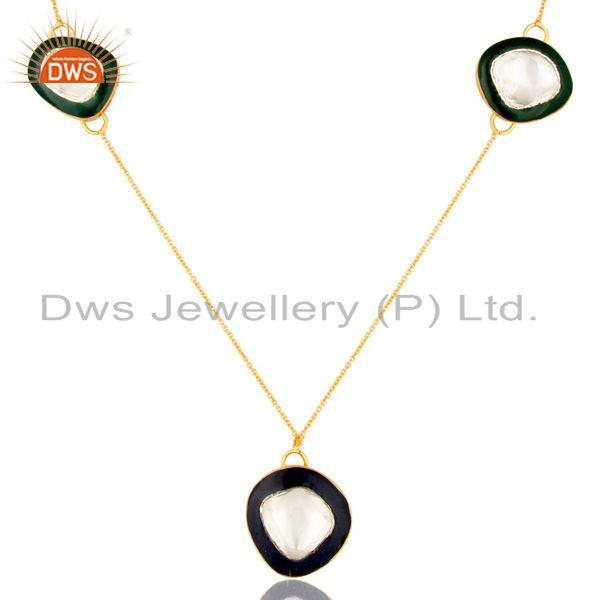 Exporter 18K Gold Plated Sterling Silver Crystal Polki And Enamel Work Fashion Necklace