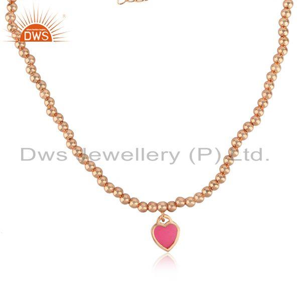 Pink enamel heart charm beaded necklace in rose gold on silver