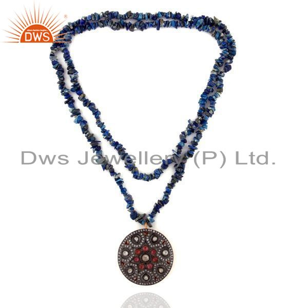 Exporter Victorian Style 925 Silver Polki Crystal Pendant Lapis Lazuli Chips Necklace CZ