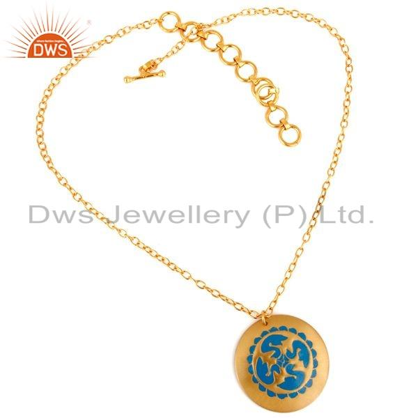 Exporter 18K Yellow Gold Over Brass Handcrafted Blue Enamel Work Pendant Necklace