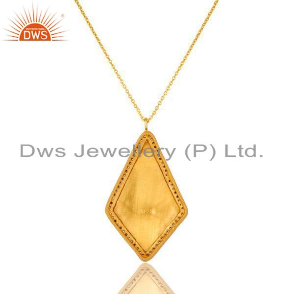 Exporter 18K Yellow Gold Plated Sterling Silver Enamel Work And CZ Pendant With Chain