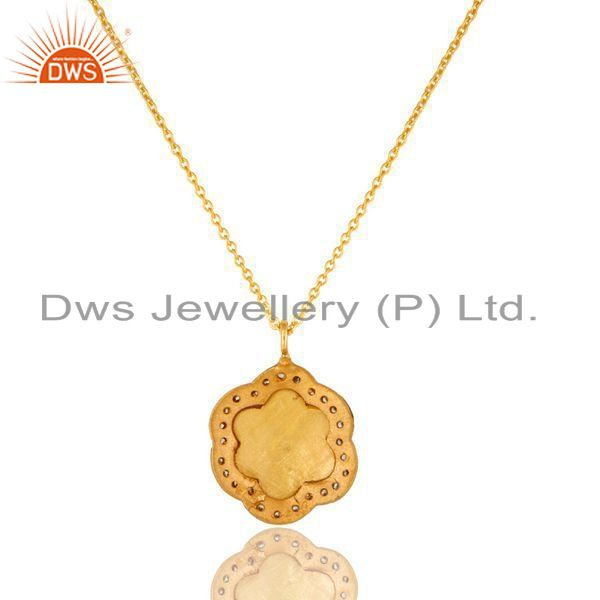 Exporter 18K Yellow Gold Plated Sterling Silver Enamel And CZ Designer Pendant With Chain
