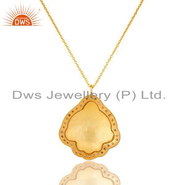 Exporter 18K Gold Plated Sterling Silver Flower Enamel And CZ Designer Pendant With Chain
