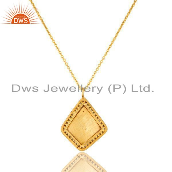 Exporter 18K Yellow Gold Plated Sterling Silver CZ And Enamel Work Pendant With Chain