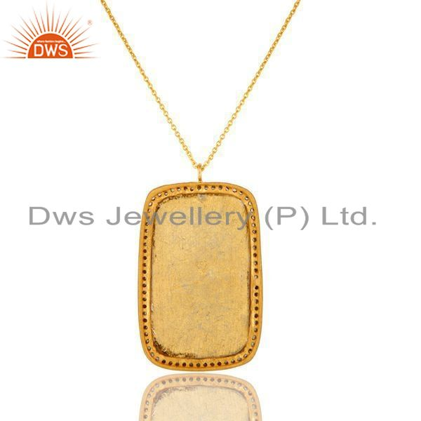 Exporter 18K Gold Plated Sterling Silver Enamel Design And CZ Pendant With Chain